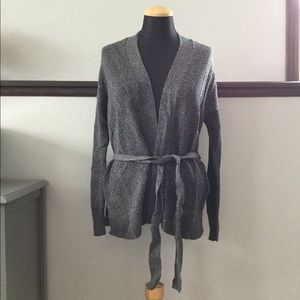 Gray open front belted cardigan